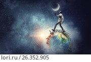 Купить «Aviator running on globe. Mixed media», фото № 26352905, снято 23 июля 2018 г. (c) Sergey Nivens / Фотобанк Лори