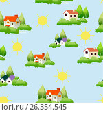 Pattern house, sun, trees. Стоковая иллюстрация, иллюстратор Ирина / Фотобанк Лори