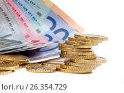 Money euro coints and banknotes on white, фото № 26354729, снято 3 сентября 2011 г. (c) Tatjana Romanova / Фотобанк Лори
