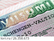 Купить «Шенгенская виза в паспорте, выданная консульством Финляндии», фото № 26358673, снято 2 августа 2015 г. (c) Александр Гаценко / Фотобанк Лори