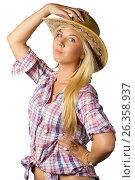 Attractive young woman in cowboy dress and hat, фото № 26358937, снято 6 июля 2011 г. (c) Tatjana Romanova / Фотобанк Лори