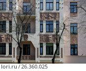 Купить «Riga, Miera street 54, Art Nouveau, elements of the facade», фото № 26360025, снято 14 мая 2017 г. (c) Andrejs Vareniks / Фотобанк Лори