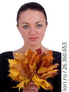 Girl holding autumn orange maple leaves on white, фото № 26360653, снято 3 октября 2012 г. (c) Tatjana Romanova / Фотобанк Лори