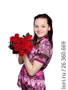 Beautiful young woman with a bouquet of red roses, фото № 26360669, снято 22 января 2012 г. (c) Tatjana Romanova / Фотобанк Лори
