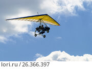 Купить «Motorized hang glider in the sunset above sea», фото № 26366397, снято 24 мая 2008 г. (c) Сергей Буторин / Фотобанк Лори