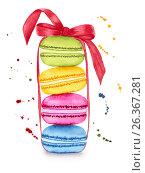 Купить «Watercolor colorful macaroons», фото № 26367281, снято 26 февраля 2020 г. (c) Наталия Пыжова / Фотобанк Лори