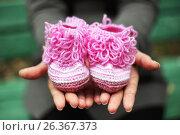 Купить «Детские носки (пинетки) в руках молодой мамы», фото № 26367373, снято 5 октября 2013 г. (c) Александр Гаценко / Фотобанк Лори