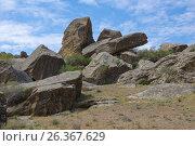 Купить «Rocky landscape. Gobustan, Azerbaijan», фото № 26367629, снято 26 апреля 2017 г. (c) Аркадий Захаров / Фотобанк Лори