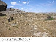 Купить «Primeval man settlement with petroglyphs. Gobustan, Azerbaijan», фото № 26367637, снято 26 апреля 2017 г. (c) Аркадий Захаров / Фотобанк Лори