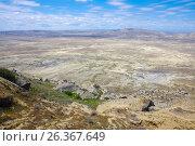 Купить «Panoramic view of Gobustan from Kichikdash mountain. Azerbaijan», фото № 26367649, снято 26 апреля 2017 г. (c) Аркадий Захаров / Фотобанк Лори