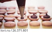Купить «chef with injector squeezing filling to macarons», видеоролик № 26371801, снято 23 июля 2019 г. (c) Syda Productions / Фотобанк Лори