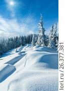 Купить «Snowdrifts on winter snow covered mountainside», фото № 26377381, снято 8 марта 2010 г. (c) Юрий Брыкайло / Фотобанк Лори