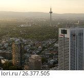 Заход солнца над Франкфуртом. Германия (2013 год). Редакционное фото, фотограф Юрий Леденцов / Фотобанк Лори