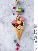 Variety of french dessert macaroons. Стоковое фото, фотограф Natasha Breen / Фотобанк Лори