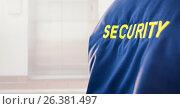 Купить «Security man outside bright background lift door», фото № 26381497, снято 16 ноября 2019 г. (c) Wavebreak Media / Фотобанк Лори