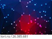 Купить «Голубой и красный геометрический фон с подсветкой. Deep blue and red geometric background with lights», иллюстрация № 26385681 (c) TasiPas / Фотобанк Лори