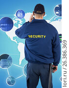 Купить «Rear view of security guard looking at various symbols against world map», фото № 26386369, снято 23 января 2019 г. (c) Wavebreak Media / Фотобанк Лори