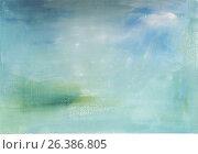 Гуашевый фон в голубых оттенках. Стоковая иллюстрация, иллюстратор Olga Far / Фотобанк Лори
