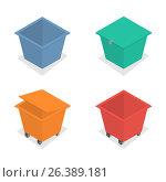 Metal container for garbage in isometric, vector illustration. Стоковая иллюстрация, иллюстратор Купченко Евгений / Фотобанк Лори