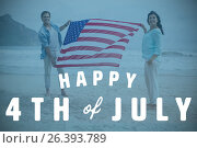 Composite image of digitally generated image of happy 4th of july text. Стоковое фото, агентство Wavebreak Media / Фотобанк Лори