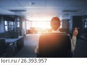 Купить «Composite image of rear view of business executive holding cigar», фото № 26393957, снято 22 июля 2019 г. (c) Wavebreak Media / Фотобанк Лори