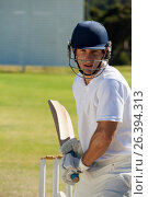 Player playing cricket on field. Стоковое фото, агентство Wavebreak Media / Фотобанк Лори