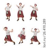 Купить «Funny scotsman isolated on white», фото № 26410289, снято 9 апреля 2014 г. (c) Elnur / Фотобанк Лори