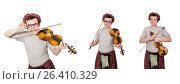 Купить «Funny scotsman with violin on white», фото № 26410329, снято 9 апреля 2014 г. (c) Elnur / Фотобанк Лори