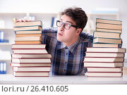 Купить «Nerd funny student preparing for university exams», фото № 26410605, снято 8 марта 2017 г. (c) Elnur / Фотобанк Лори