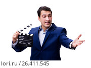 Купить «Handsome man with movie clapper isolated on white», фото № 26411545, снято 5 ноября 2016 г. (c) Elnur / Фотобанк Лори