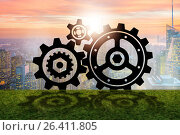 Купить «Teamwork concept with cogwheels gears», фото № 26411805, снято 18 января 2019 г. (c) Elnur / Фотобанк Лори