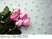Букет розовых роз с бусинами жемчуга на белом фоне. Стоковое фото, фотограф Юлия Болоцкая / Фотобанк Лори