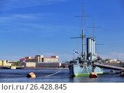 """Купить «Крейсер """"Аврора"""" на реке Неве в Санкт-Петербурге», фото № 26428845, снято 16 мая 2013 г. (c) Александр Гаценко / Фотобанк Лори"""