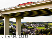 Купить «Bleche village and A45 motorway bridge, Germany, North Rhine-Westphalia, Sauerland, Drolshagen», фото № 26433813, снято 22 февраля 2016 г. (c) age Fotostock / Фотобанк Лори