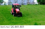 Купить «Покос паркового газона двумя тракторами Беларус. Город Москва.», видеоролик № 26441801, снято 30 мая 2017 г. (c) Антон Вербило / Фотобанк Лори