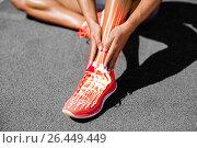 Купить «Low section of female athlete suffering from joint pain on track», фото № 26449449, снято 12 декабря 2018 г. (c) Wavebreak Media / Фотобанк Лори