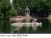 Купить «Островки с домиками для уток и беседка-ротонда на Пресненском пруду на старой территории Московского зоопарка», эксклюзивное фото № 26455549, снято 10 августа 2016 г. (c) lana1501 / Фотобанк Лори