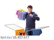 Купить «Husband man doing laundry isolated on white», фото № 26457617, снято 6 марта 2017 г. (c) Elnur / Фотобанк Лори