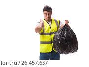 Купить «Man with garbage sack isolated on white», фото № 26457637, снято 6 марта 2017 г. (c) Elnur / Фотобанк Лори