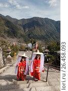 Купить «Kumano Nachi Taisha (熊野那æ. ºå¤§ç¤¾) is one of the three Kumano shrines, situated a few kilometers inland from the coastal hot spring resort of Katsuura...», фото № 26458093, снято 3 марта 2017 г. (c) age Fotostock / Фотобанк Лори