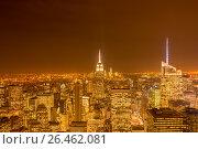 Купить «Night view of New York Manhattan during sunset», фото № 26462081, снято 20 декабря 2013 г. (c) Elnur / Фотобанк Лори