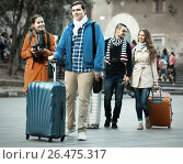 Купить «travelers with baggage sightseeing and smiling in autumn», фото № 26475317, снято 20 июля 2019 г. (c) Яков Филимонов / Фотобанк Лори