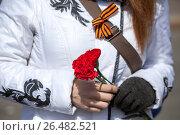 Купить «Три красные гвоздики в руках женщины и Георгиевская лента, прикрепленная на ремешок сумки, крупный план», фото № 26482521, снято 9 мая 2017 г. (c) Кекяляйнен Андрей / Фотобанк Лори