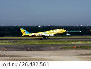 Купить «Самолет Boeing 747-400 авиакомпании ANA (All Nippon Airways) с изображением покемонов взлетает в аэропорту Ханеда (Токио, Япония)», фото № 26482561, снято 26 апреля 2009 г. (c) Александр Гаценко / Фотобанк Лори