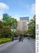 Туристы гуляют по аллеям Восточного парка во дворе Императорского дворца в Токио, Япония (2013 год). Редакционное фото, фотограф Кекяляйнен Андрей / Фотобанк Лори