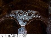 Купить «Изображения львов и крестов на стене жаматуна монастырского комплекса Гегард. Армения.», фото № 26514081, снято 8 мая 2017 г. (c) Эдуард Паравян / Фотобанк Лори