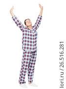 Купить «Stretched girl in pajamas on a white background in full length», фото № 26516281, снято 2 января 2017 г. (c) Константин Лабунский / Фотобанк Лори