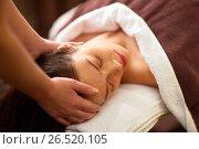 Купить «woman having head massage at spa», фото № 26520105, снято 26 января 2017 г. (c) Syda Productions / Фотобанк Лори
