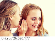 Купить «happy young women whispering gossip at home», фото № 26520177, снято 14 ноября 2015 г. (c) Syda Productions / Фотобанк Лори
