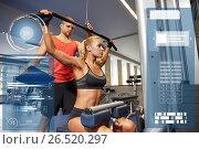 Купить «man and woman flexing muscles on gym machine», фото № 26520297, снято 19 апреля 2015 г. (c) Syda Productions / Фотобанк Лори